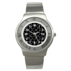 Black And White Floral Pattern Stainless Steel Watch by Valentinaart