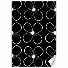Black And White Floral Pattern Canvas 12  X 18   by Valentinaart