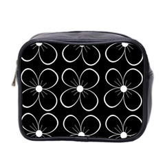 Black And White Floral Pattern Mini Toiletries Bag 2 Side by Valentinaart
