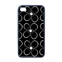 Black And White Floral Pattern Apple Iphone 4 Case (black) by Valentinaart