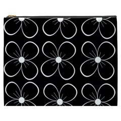 Black And White Floral Pattern Cosmetic Bag (xxxl)  by Valentinaart
