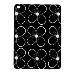 Black And White Floral Pattern Ipad Air 2 Hardshell Cases by Valentinaart