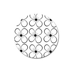 White Flowers Pattern Magnet 3  (round) by Valentinaart