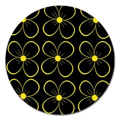 Yellow Flowers Magnet 5  (round) by Valentinaart