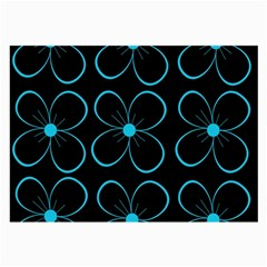 Blue Flowers Large Glasses Cloth (2 Side) by Valentinaart