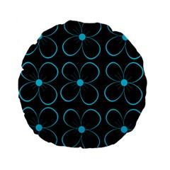 Blue Flowers Standard 15  Premium Flano Round Cushions by Valentinaart