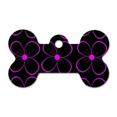 Purple Floral Pattern Dog Tag Bone (two Sides) by Valentinaart