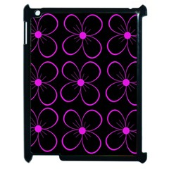 Purple Floral Pattern Apple Ipad 2 Case (black) by Valentinaart