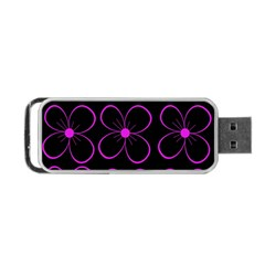 Purple Floral Pattern Portable Usb Flash (two Sides) by Valentinaart
