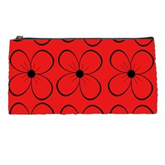 Red Floral Pattern Pencil Cases by Valentinaart