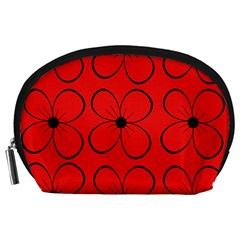 Red Floral Pattern Accessory Pouches (large)  by Valentinaart
