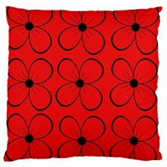 Red Floral Pattern Standard Flano Cushion Case (one Side)
