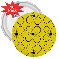 Yellow Floral Pattern 3  Buttons (10 Pack)  by Valentinaart