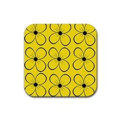 Yellow Floral Pattern Rubber Coaster (square)  by Valentinaart