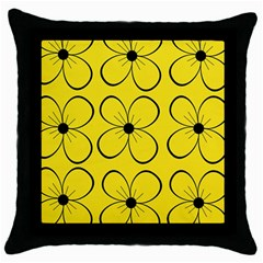 Yellow Floral Pattern Throw Pillow Case (black) by Valentinaart