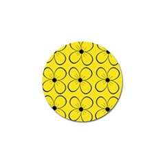 Yellow Floral Pattern Golf Ball Marker (4 Pack) by Valentinaart