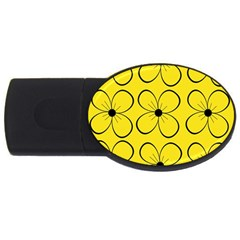 Yellow Floral Pattern Usb Flash Drive Oval (4 Gb)  by Valentinaart