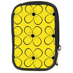 Yellow Floral Pattern Compact Camera Cases by Valentinaart