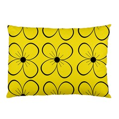 Yellow Floral Pattern Pillow Case (two Sides) by Valentinaart