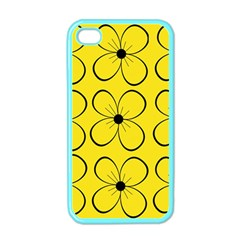 Yellow Floral Pattern Apple Iphone 4 Case (color) by Valentinaart