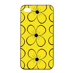 Yellow Floral Pattern Apple Iphone 4/4s Seamless Case (black) by Valentinaart