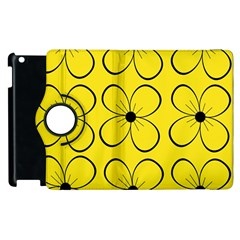 Yellow Floral Pattern Apple Ipad 3/4 Flip 360 Case by Valentinaart