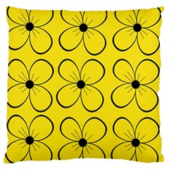 Yellow Floral Pattern Large Flano Cushion Case (one Side) by Valentinaart