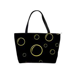 Yellow Bubbles Shoulder Handbags by Valentinaart