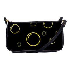 Yellow Bubbles Shoulder Clutch Bags by Valentinaart