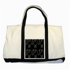 Black And White Birds Two Tone Tote Bag by Valentinaart