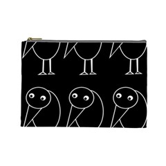 Black And White Birds Cosmetic Bag (large)  by Valentinaart