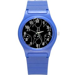 Black And White Birds Round Plastic Sport Watch (s) by Valentinaart