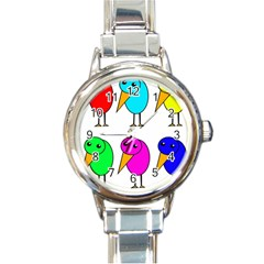 Colorful Birds Round Italian Charm Watch by Valentinaart