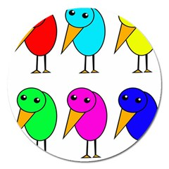 Colorful Birds Magnet 5  (round) by Valentinaart