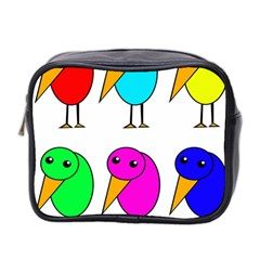 Colorful Birds Mini Toiletries Bag 2 Side by Valentinaart