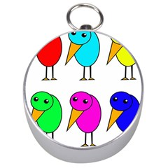 Colorful Birds Silver Compasses by Valentinaart