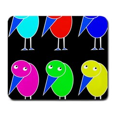 Colorful Birds Large Mousepads by Valentinaart