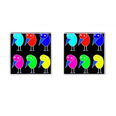 Colorful Birds Cufflinks (square) by Valentinaart
