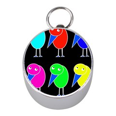 Colorful Birds Mini Silver Compasses by Valentinaart