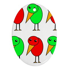 Green And Red Birds Ornament (oval)  by Valentinaart