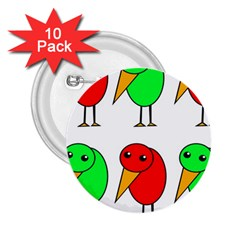 Green And Red Birds 2 25  Buttons (10 Pack)  by Valentinaart