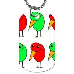 Green And Red Birds Dog Tag (two Sides) by Valentinaart