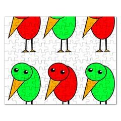 Green And Red Birds Rectangular Jigsaw Puzzl by Valentinaart