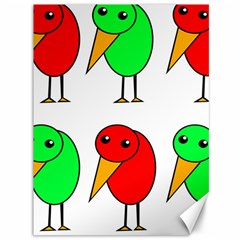 Green And Red Birds Canvas 36  X 48   by Valentinaart