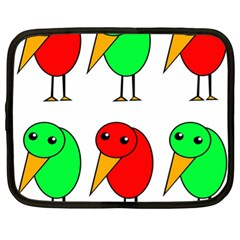 Green And Red Birds Netbook Case (xl)  by Valentinaart
