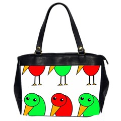 Green And Red Birds Office Handbags (2 Sides)  by Valentinaart