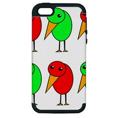 Green And Red Birds Apple Iphone 5 Hardshell Case (pc+silicone) by Valentinaart