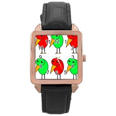 Green And Red Birds Rose Gold Leather Watch  by Valentinaart