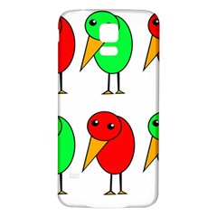 Green And Red Birds Samsung Galaxy S5 Back Case (white) by Valentinaart