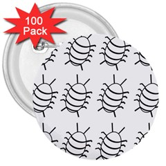 White Bug Pattern 3  Buttons (100 Pack)  by Valentinaart